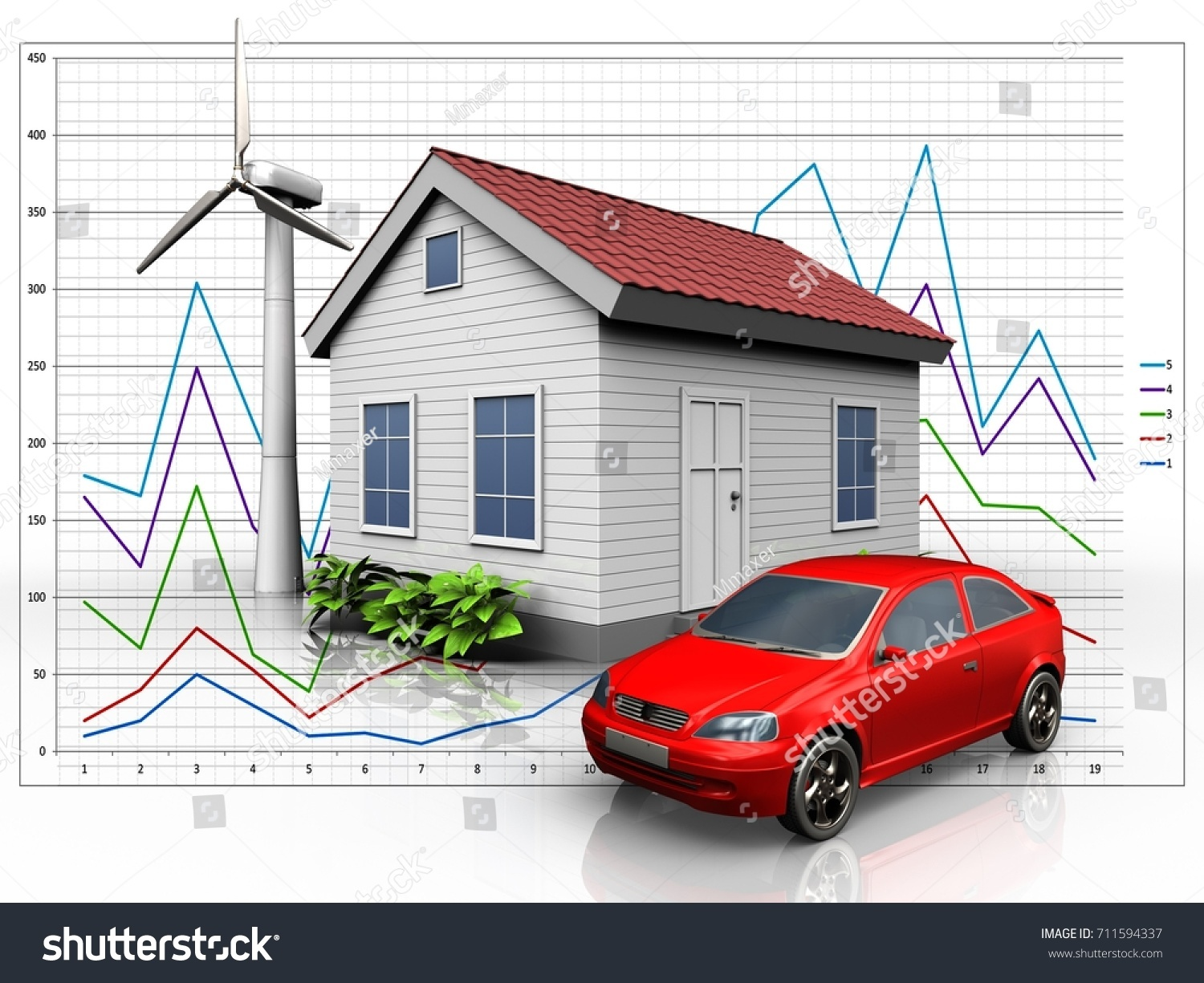 hight resolution of 3d illustration of wind energy house with car over diagram background