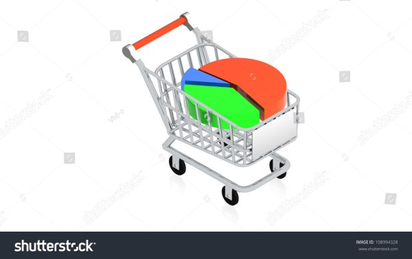 3d Of Shopping Carts With Chart In
