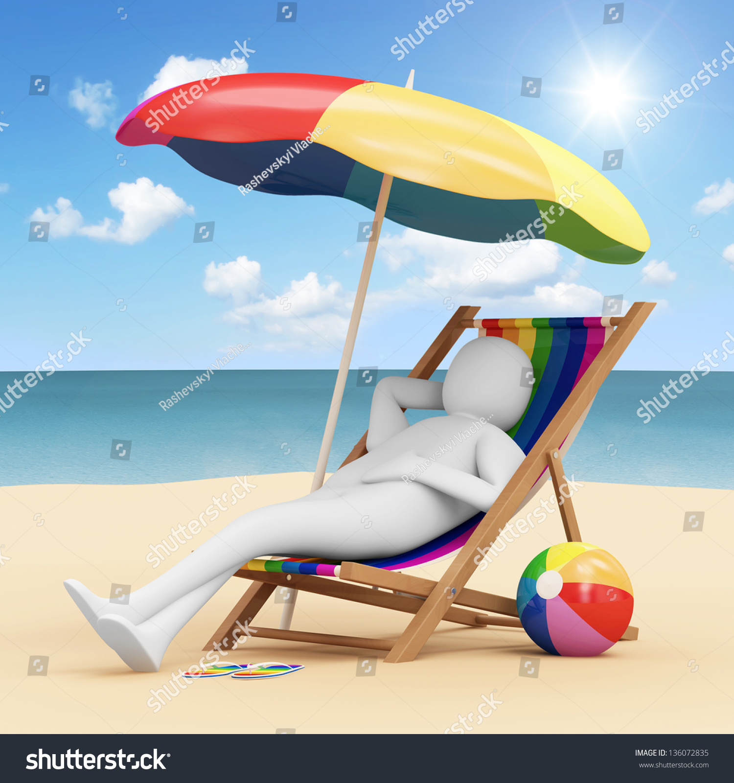 beach chair accessories baby food mothercare 3d man lying on a with umbrella and different