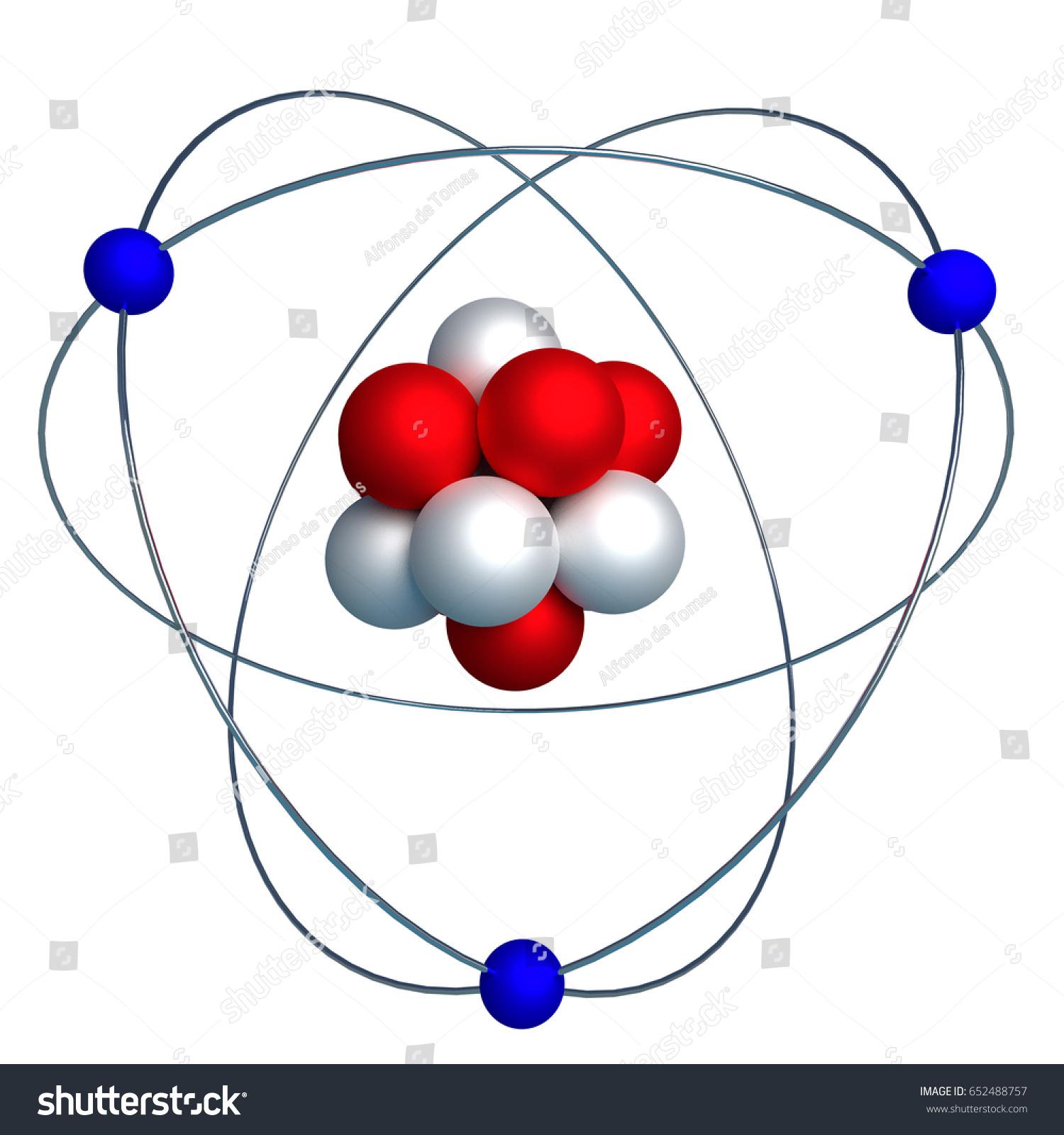 3d Model Nucleus Atom Protons Neutrons Stock Illustration