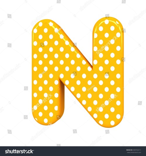 small resolution of 3d polka dots letter n orange funny cute birthday party alphabet isolated white background