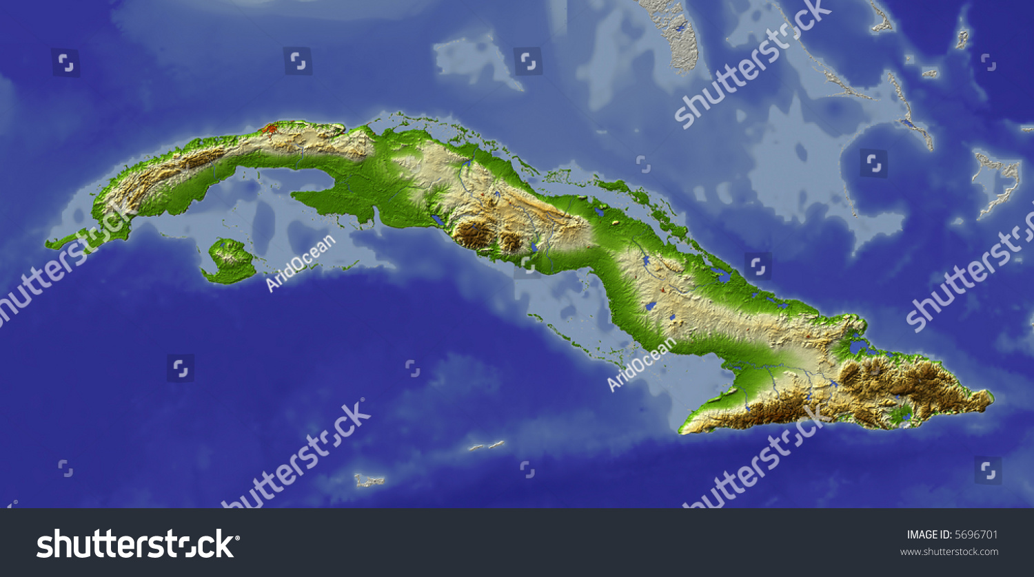 3d Relief Map Of Cuba Shows Major Cities And Rivers