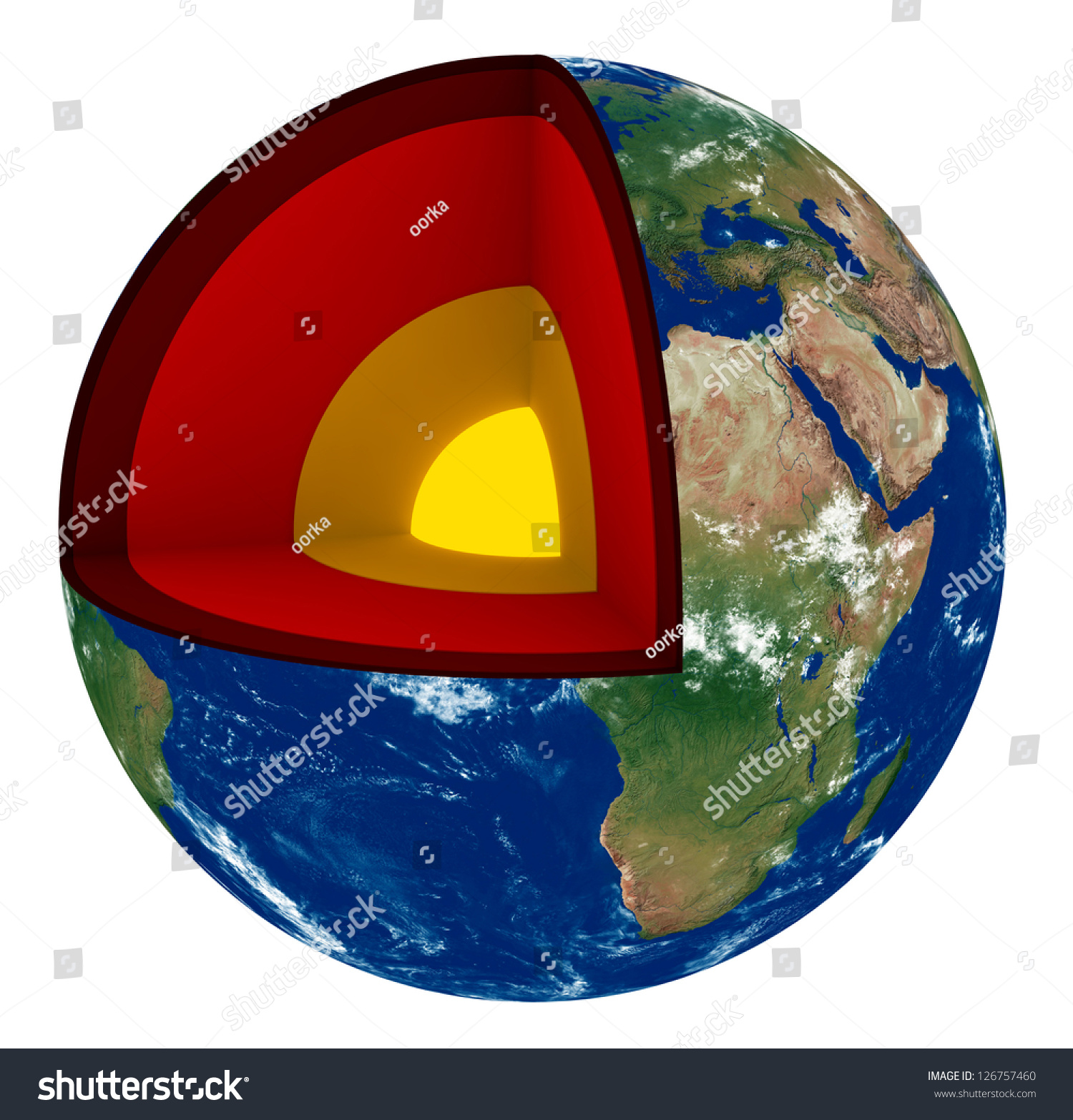 3d Render Of Earth Cross Section Showing Its Internal