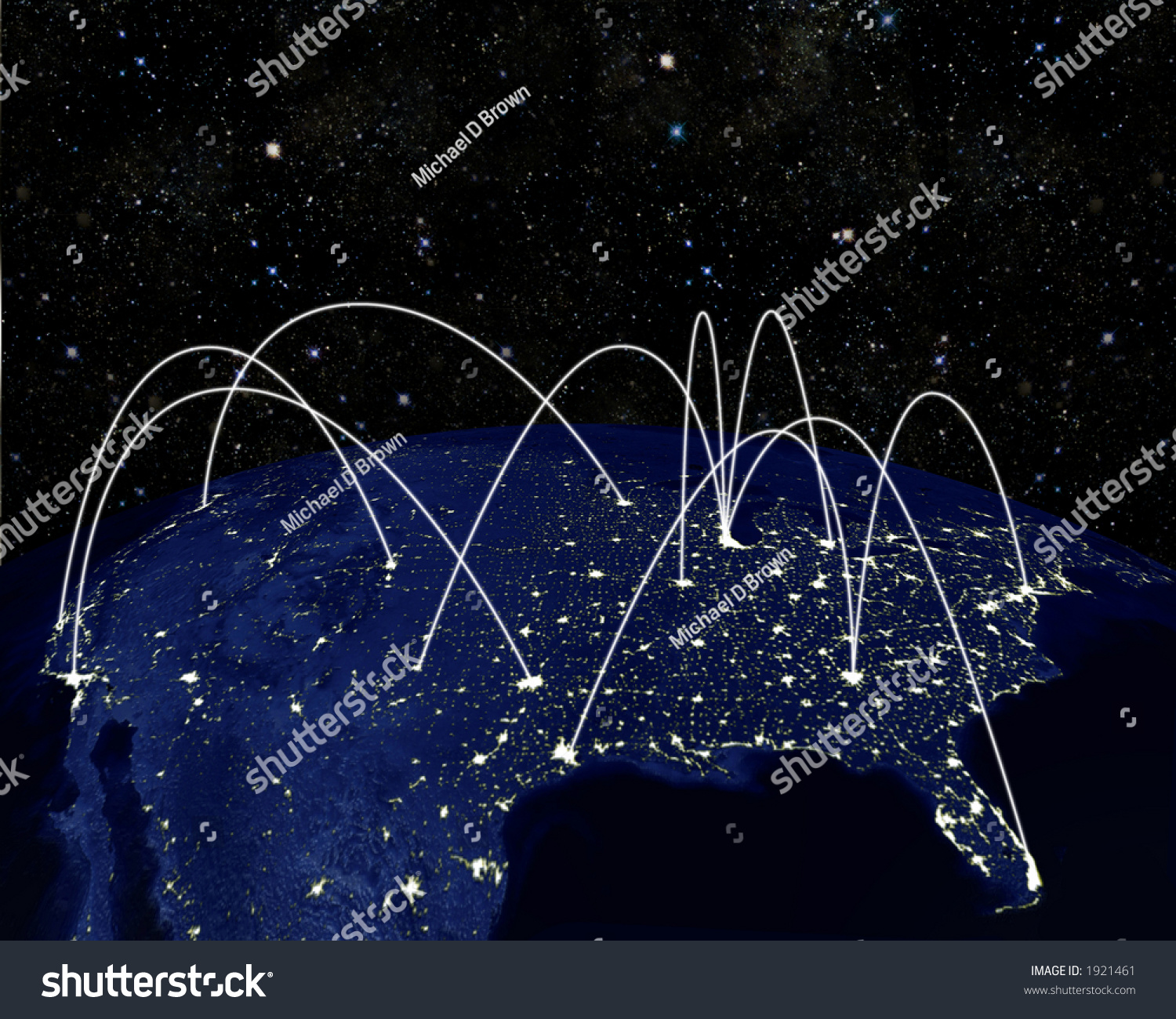 3d Render Of Earth - North America - At Night, With Inter-City Comm-Links, Flight Paths, Business Connections, Etc. Stock Photo 1921461 : Shutterstock