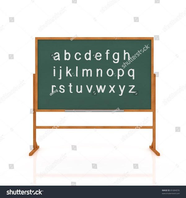 3d Render Of School Blackboard With Alphabet Isolated