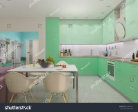 3d Render Of Small Apartments In Pastel Colors. Kitchen In ...