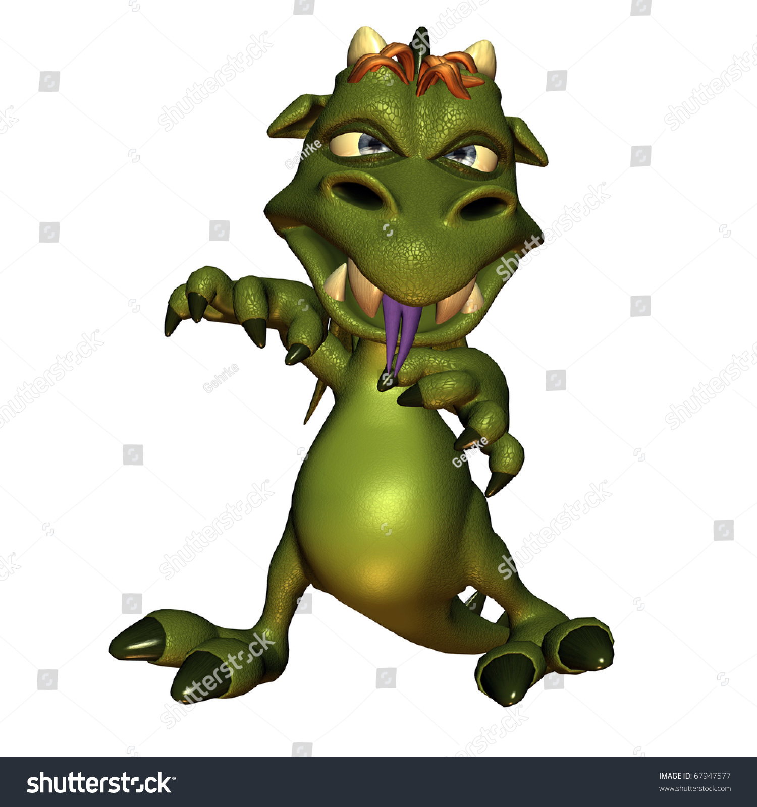 3d Rendering Of A Little Evil Dragon In A Comic Style Illustration - 67947577 : Shutterstock