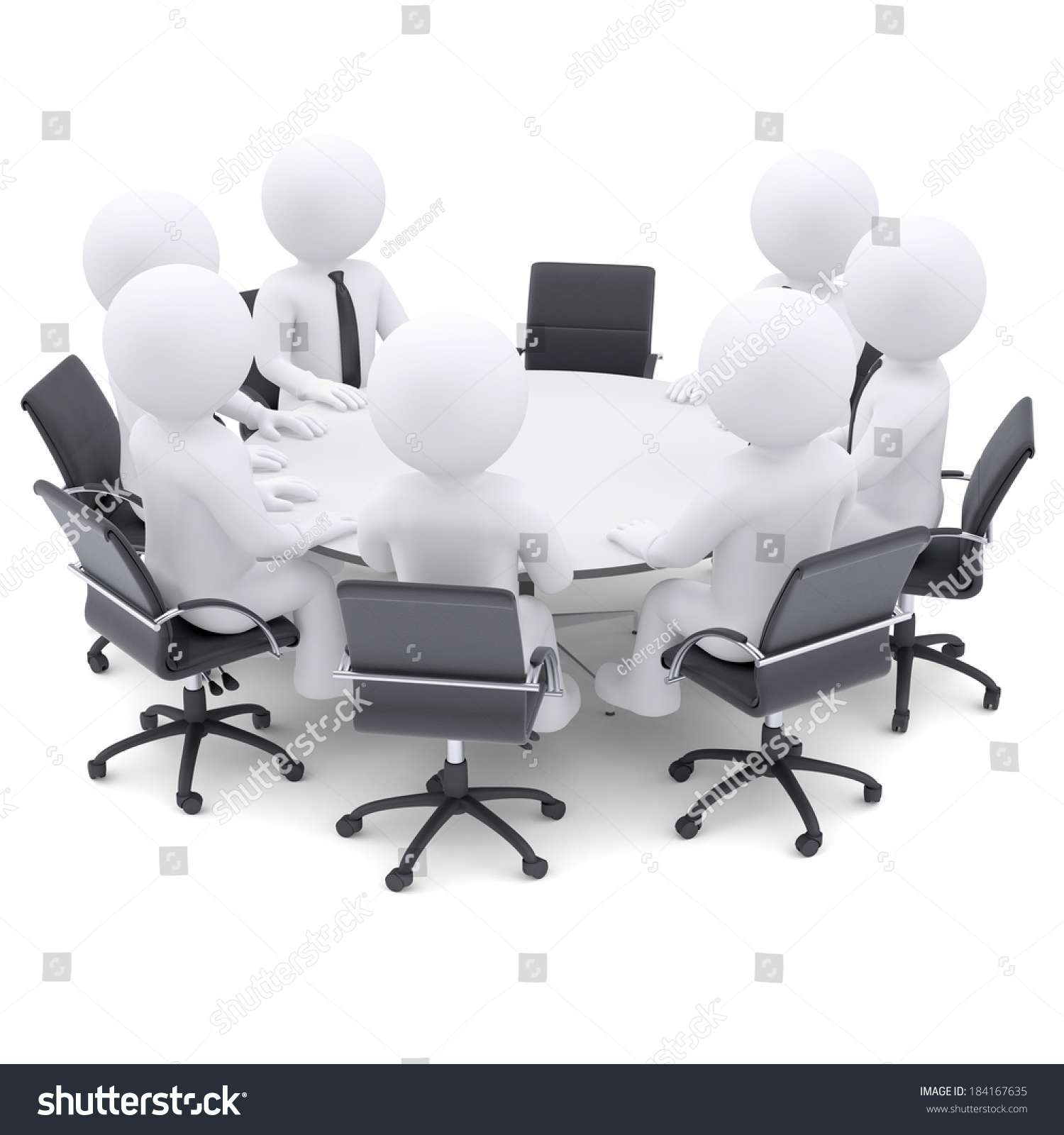 guy brown office chairs padded kitchen on wheels 3d white people round table one stock illustration