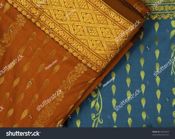 Embroidery Silk Sari Border In White Background Stock