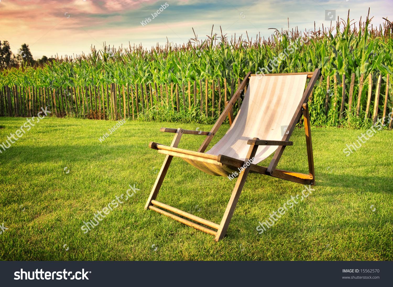 Striped Desk Chair In Garden Corn Field On Background