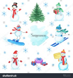 watercolor snowmans set isolated on white background this christmas set with handpainted clipart snowman [ 1500 x 1600 Pixel ]