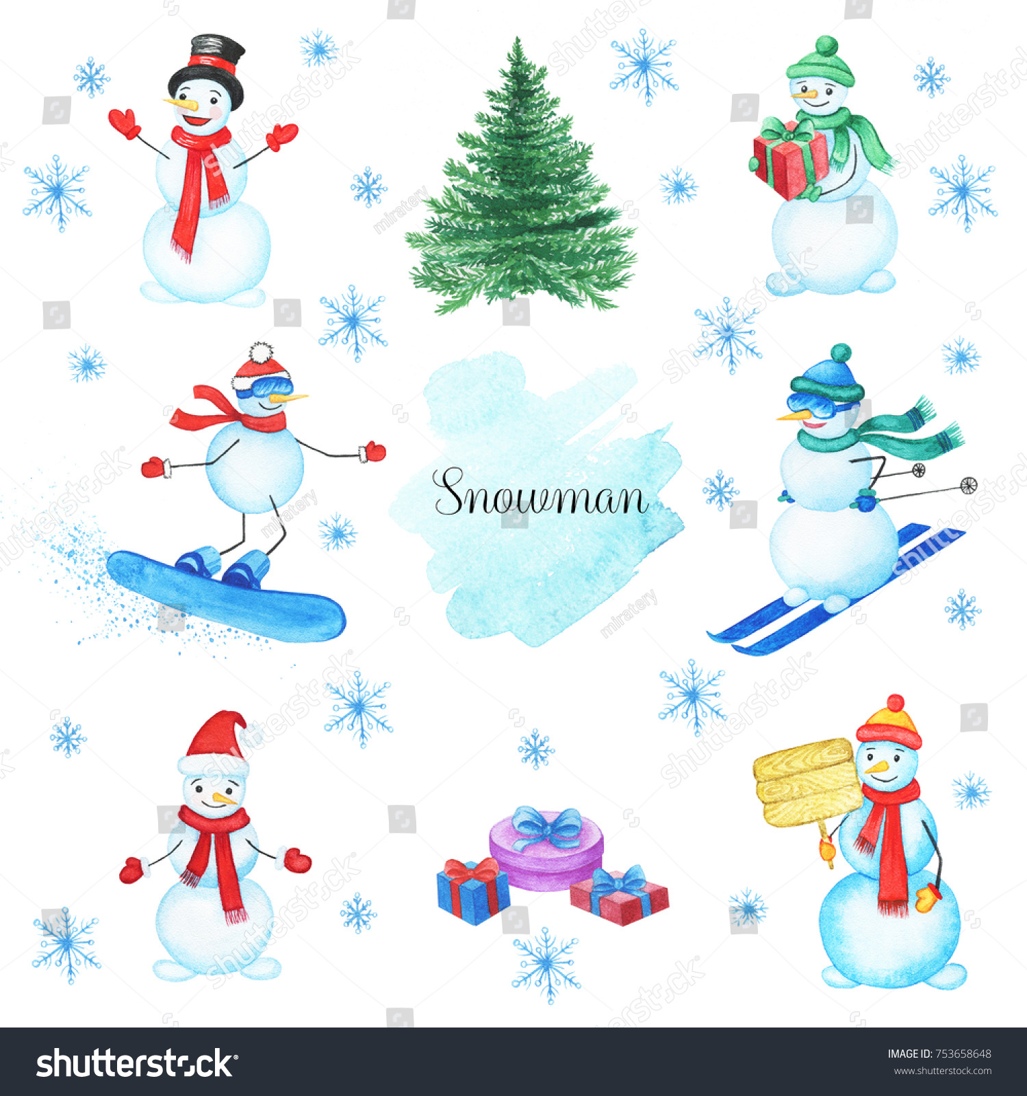 hight resolution of watercolor snowmans set isolated on white background this christmas set with handpainted clipart snowman