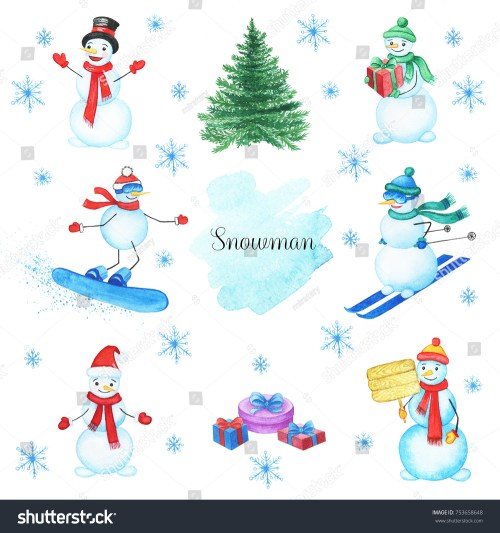 small resolution of watercolor snowmans set isolated on white background this christmas set with handpainted clipart snowman