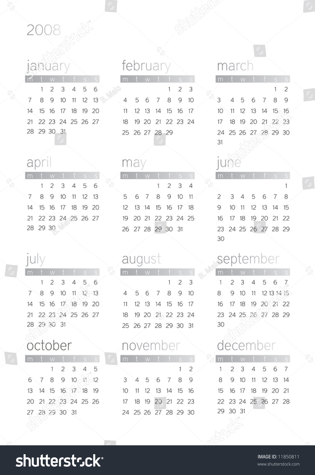 2008 White Background Gregorian Calendar With Days And Dates Stock Photo 11850811 : Shutterstock