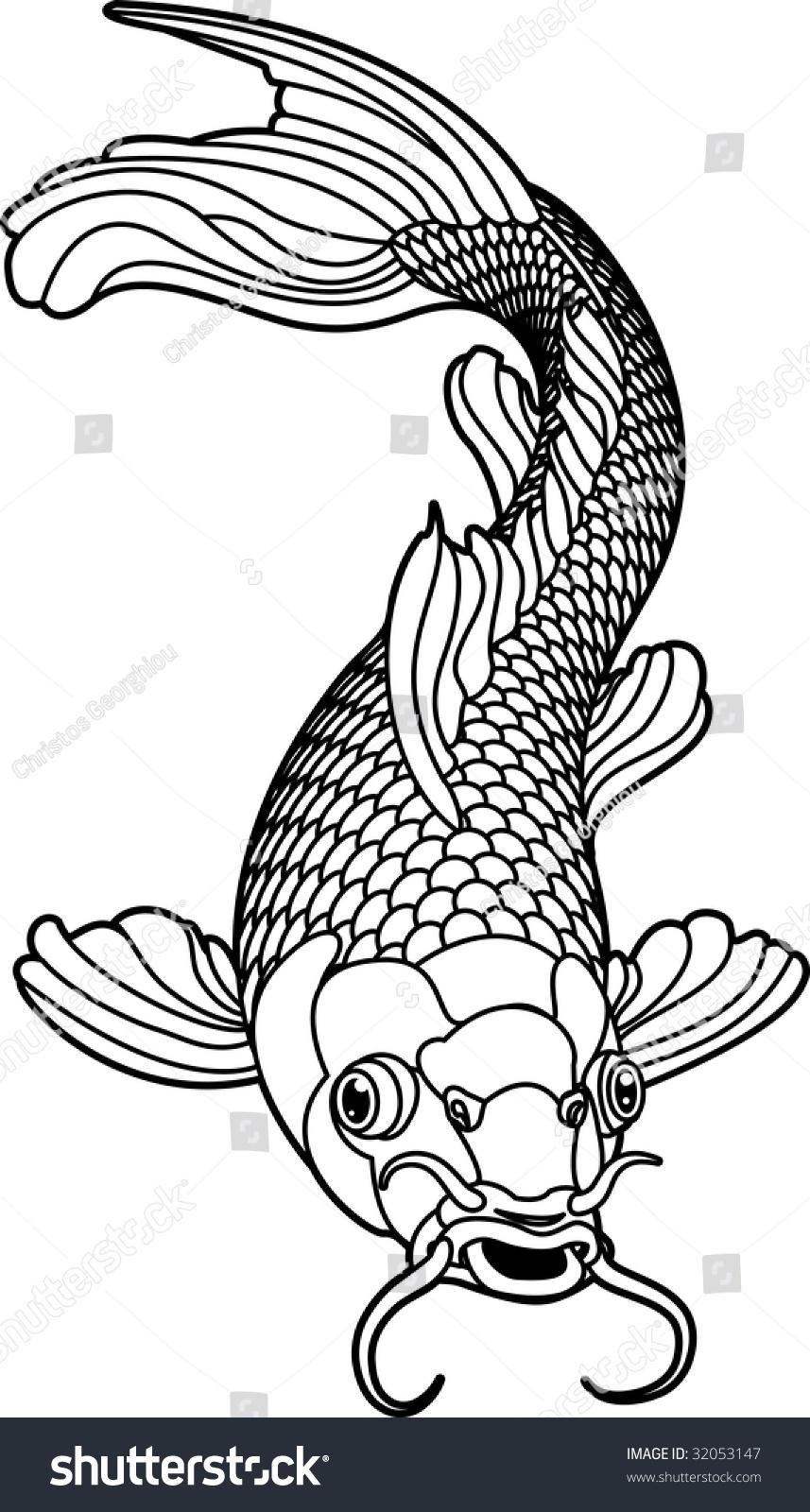 Beautiful Koi Carp Fish Illustration Monochrome Stock Illustration