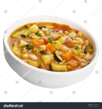 A Bowl Of Vegetable Soup Isolated On White. Stock Photo ...