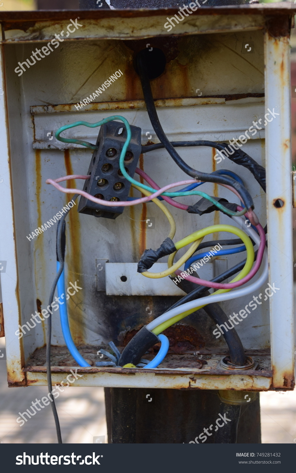 hight resolution of a broken electrical junction panel box