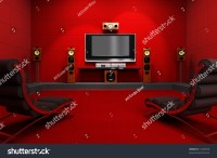A Contemporary Home Theater Room. Furnished With Modern ...