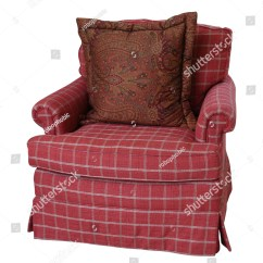 Armchair Pillow Eames Replica Chair A Coral Colored Plaid Overstuffed With Paisley