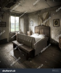 Creepy Bedroom Scenery Cracked Walls Wooden Stock