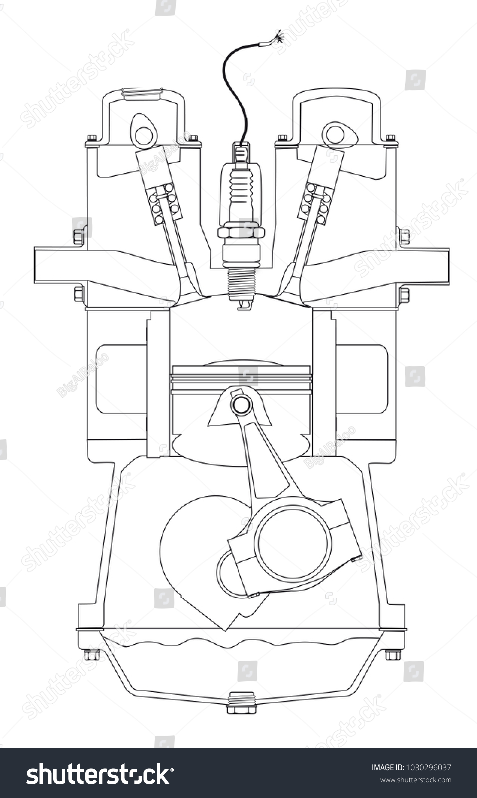4 stroke petrol engine diagram 98 dodge durango headlight wiring royalty free stock illustration of four on a its ignition over white