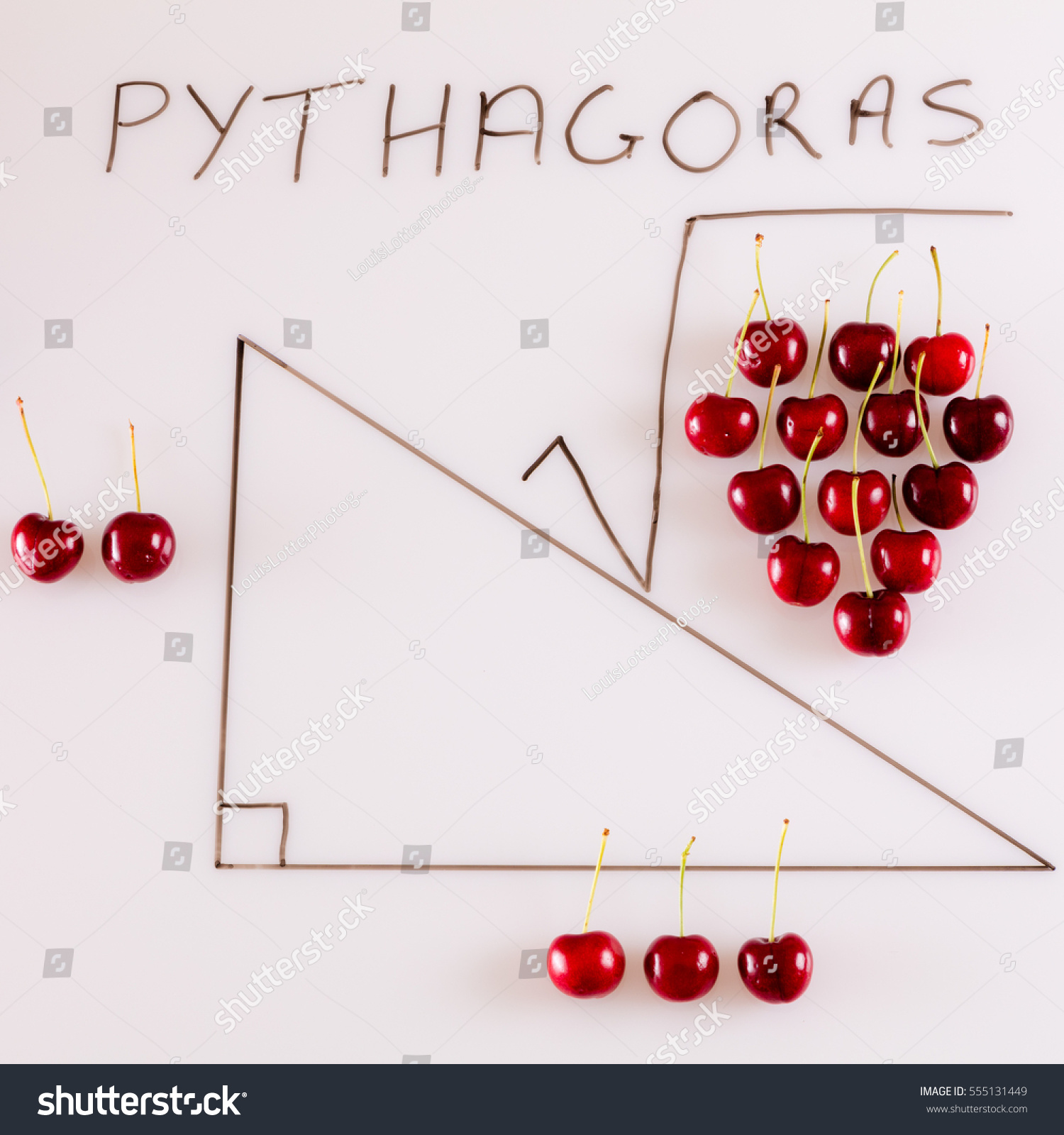 hight resolution of a fun way of illustrating pythagoras theorem by using red cherries and a diagram of