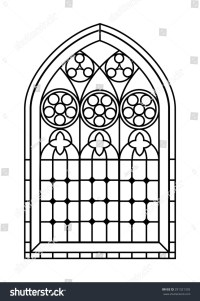 Gothic Style Stained Glass Window Black Stock Illustration ...
