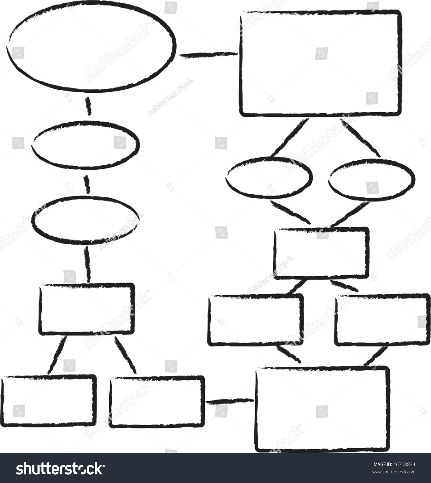 A Hand Drawn Looking Flowchart Template