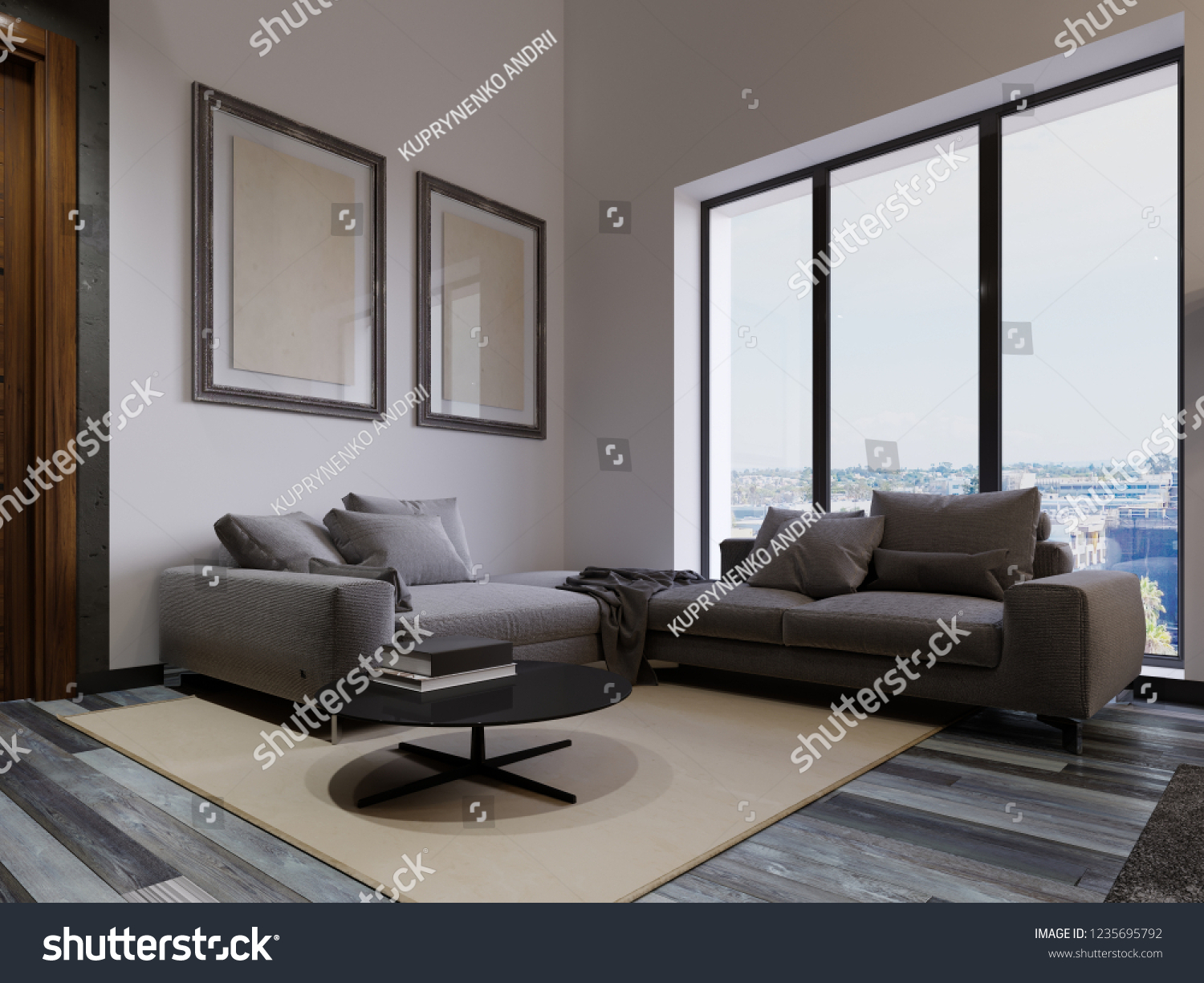 large corner sofa in small living room simple false ceiling designs for photos by stock illustration royalty free a the window is contemporary style gray fabric