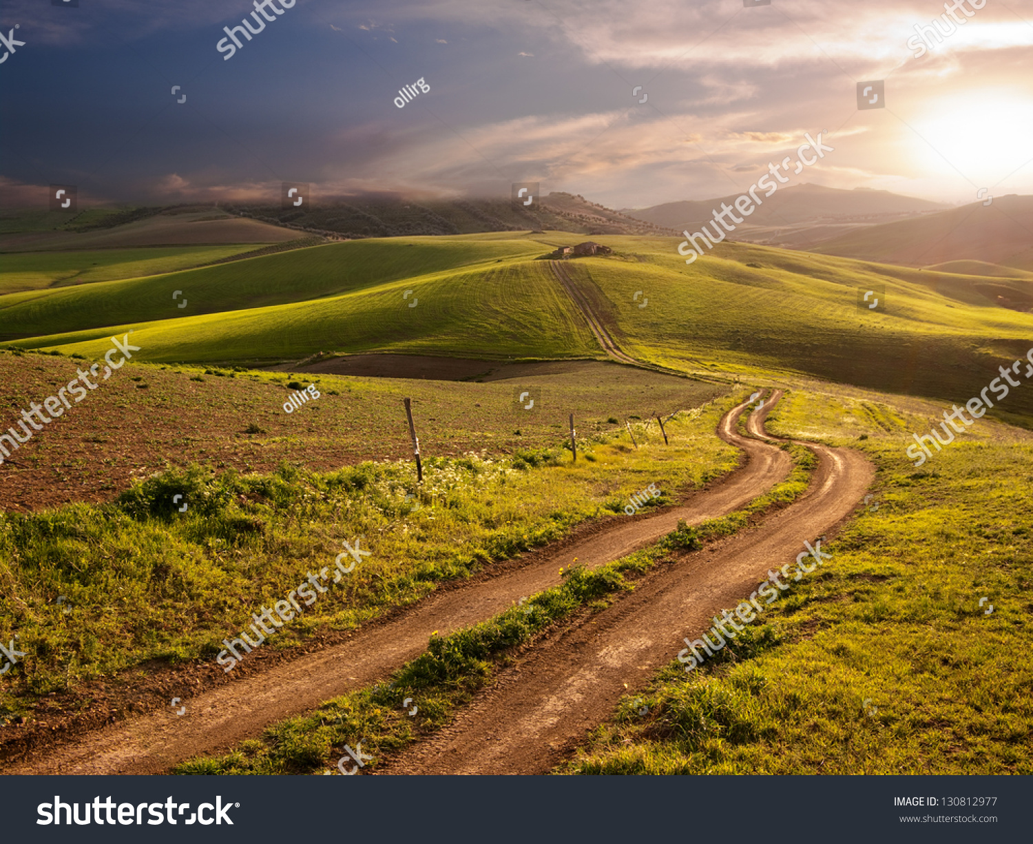 A Long And Winding Rural Path Crosses The Hills At The Sunset Stock Photo 130812977 : Shutterstock