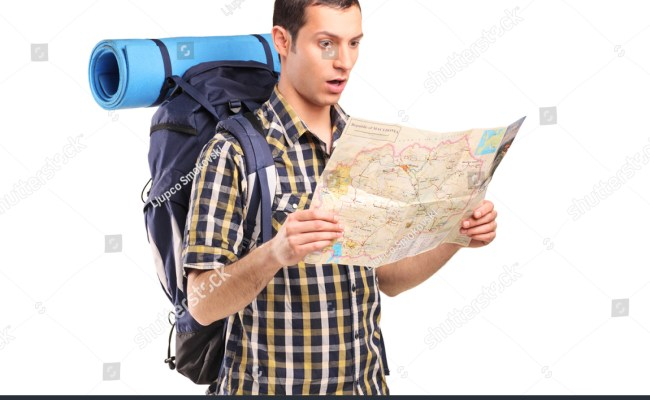 Lost Hiker Looking Map Isolated On Stock Photo 90589435