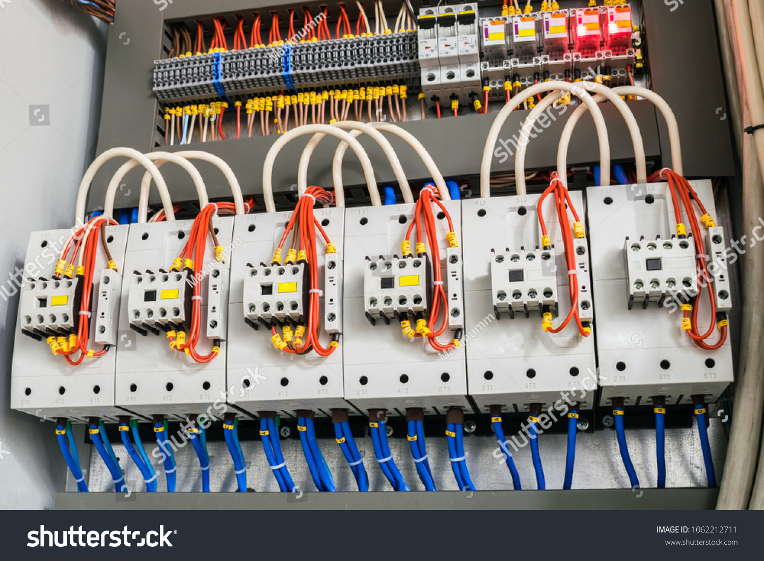hight resolution of a modern open fuse box contains a lot of automata connectors relays and