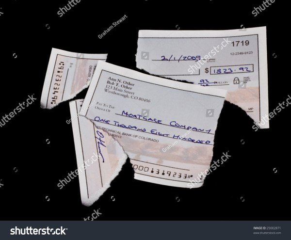 Mortgage Payment Check Torn Pieces Stock 25002871 - Shutterstock