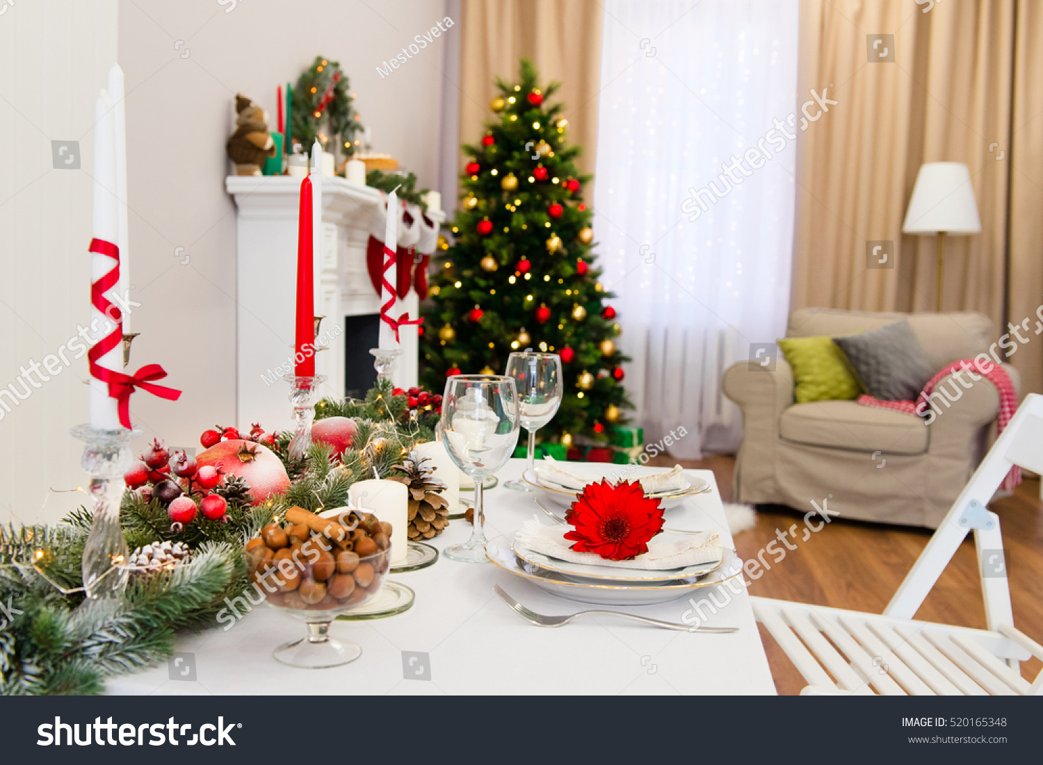 beautiful living rooms at christmas color schemes for with grey furniture new year decorated cozy room stock photo edit now 520165348 a tree green red and