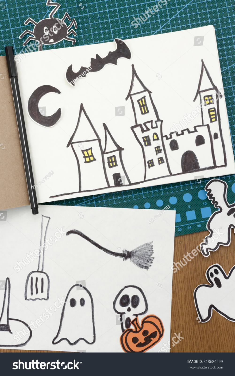 Our collection of diy halloween decoration ideas and spookily stylish fall mantel decor is sure to bring a little magic to your. Overhead View Scene Drawing Halloween Decorations Stock Photo Edit Now 318684299