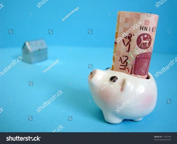 Piggy Bank With Blur House Shape Background Metaphors