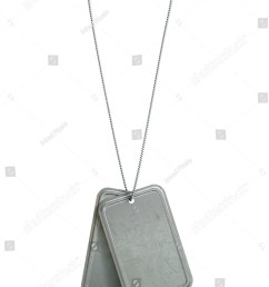 a regular set of blank military dog tag identity tags attached to a chain hanging on [ 1071 x 1600 Pixel ]