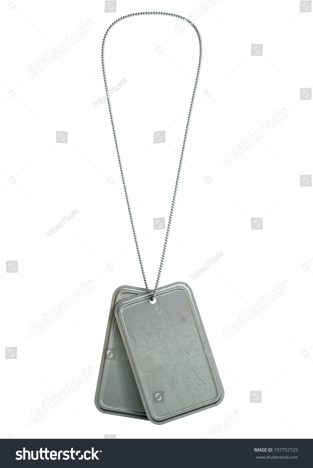 hight resolution of a regular set of blank military dog tag identity tags attached to a chain hanging on