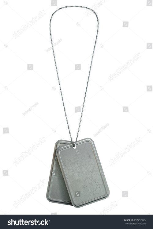 small resolution of a regular set of blank military dog tag identity tags attached to a chain hanging on