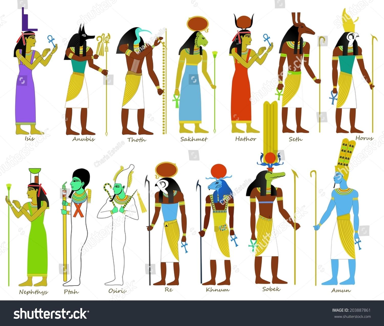 set ancient egyptian gods goddesses illustrations stock