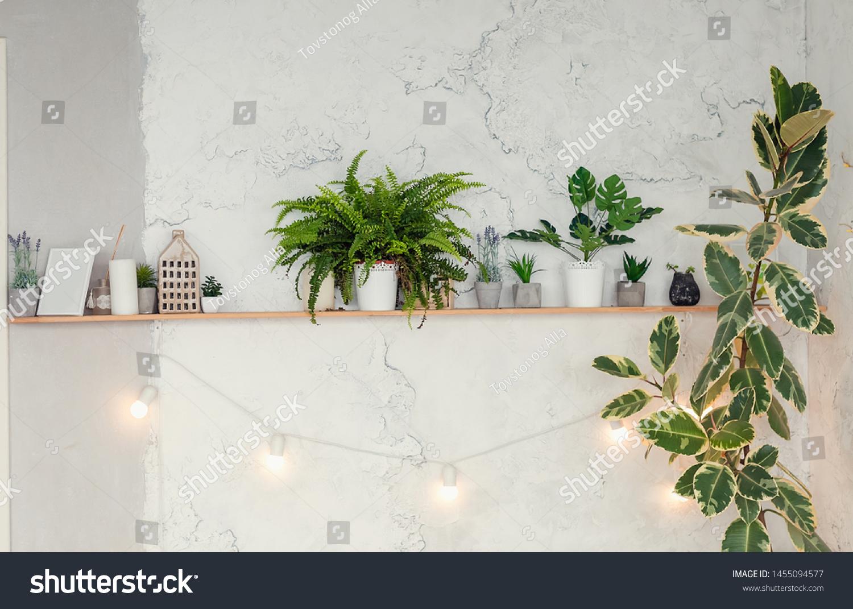 Shelf Above Bed On Background Brick Stock Photo Edit Now 1455094577