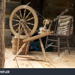 Chair Revolving Steel Base With Wheels White Wooden Rocking Chairs A Spinning Wheel Yarn Baskets And Old On Log
