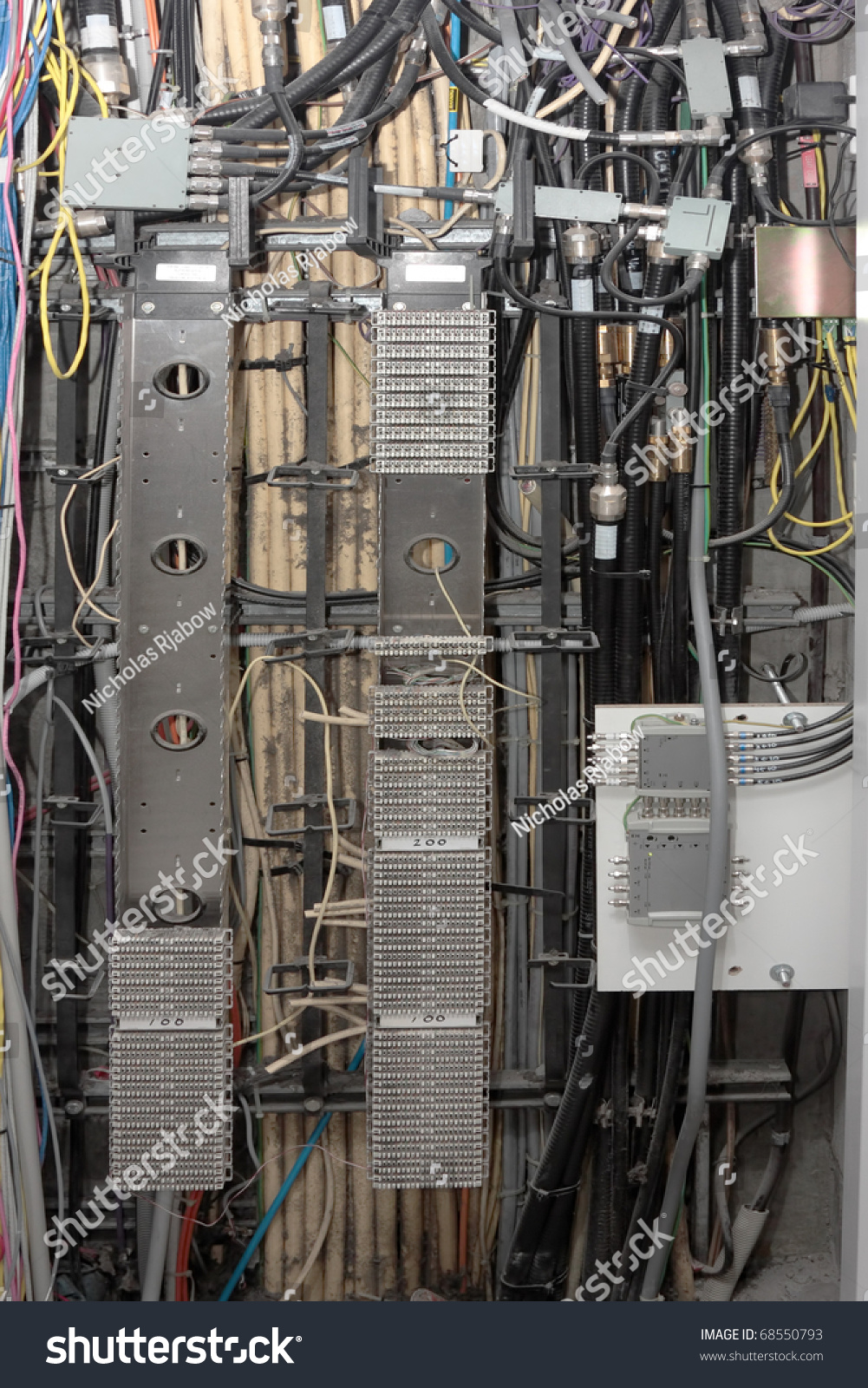hight resolution of a telecommunications cabinet and wiring