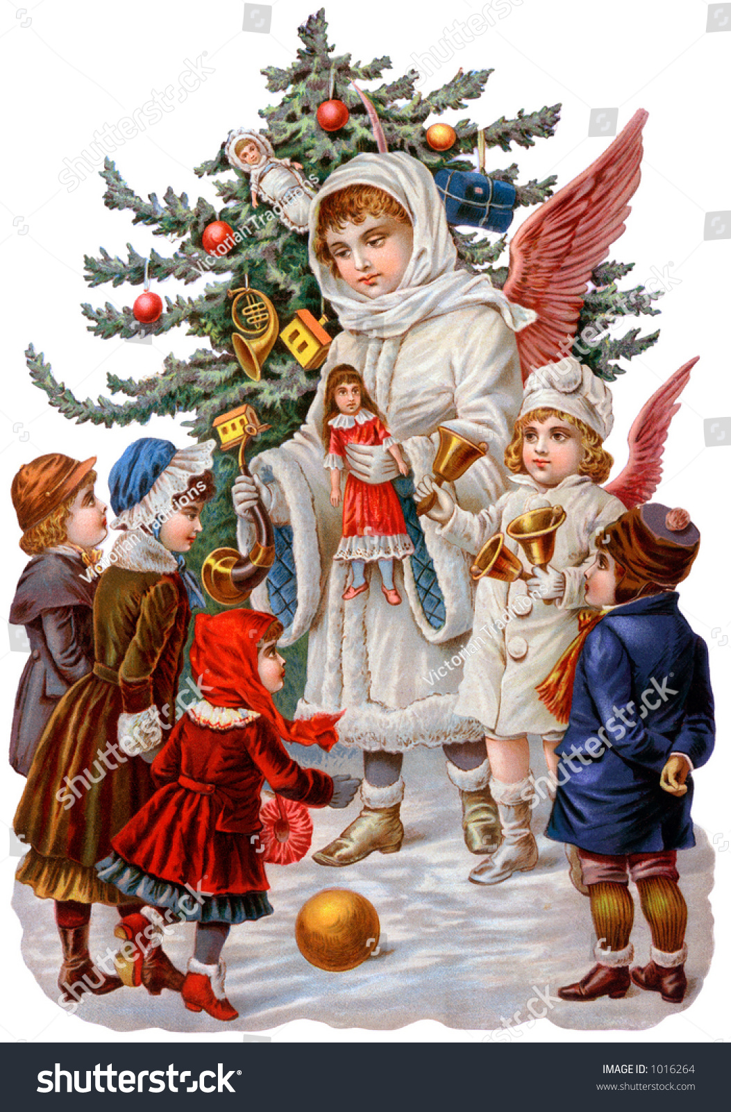 Victorian Illustration Christmas Angels Giving Gifts Stock