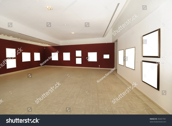 View Of Modern Art Space With Blank Canvas