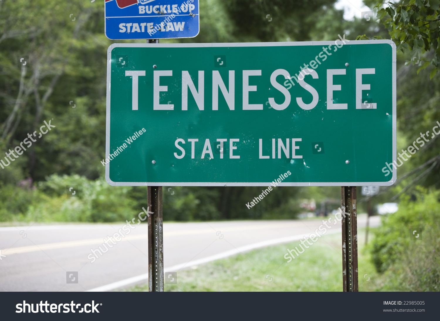 Welcome Sign Tennessee State Line Stock Photo