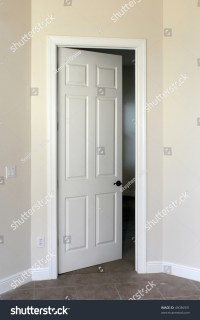 White Door Slightly Open Leading Viewers Stock Photo ...