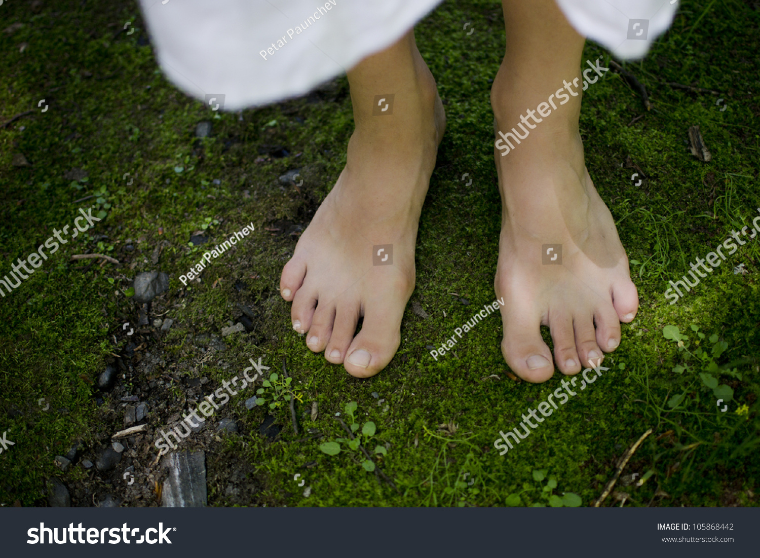 A Young Girl'S Bare Feet Feeling The Softness Of The Green Moss Connecting With The Earth Stock Photo 105868442 : Shutterstock