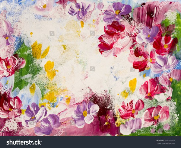 Abstract Flowers Acrylic Painting Canvas Stock Illustration 519045655 - Shutterstock