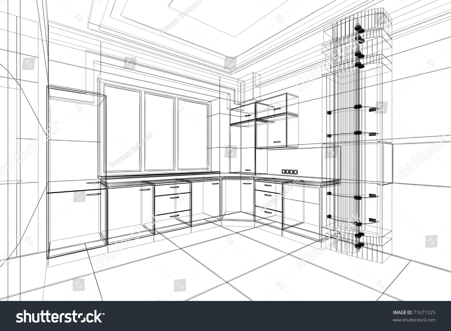 Abstract Sketch Design Interior Kitchen Stock Illustration